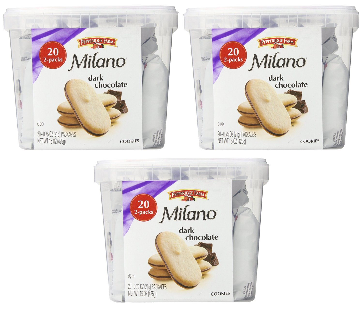 Pepperidge Farm Milano Double Chocolate Cookies, 3Pack of 15 Ounce