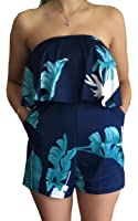 ECOWISH Women Off Shoulder Romper Strapless Floral Print Striped Beach Shorts Jumpsuit
