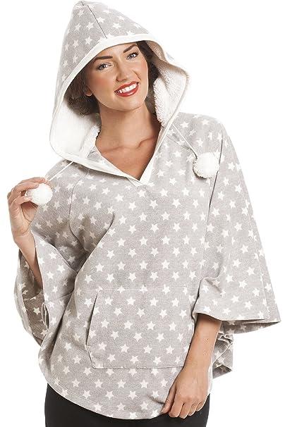 Poncho de forro polar - Con capucha - Estampado estelar - Gris S: Amazon.es: Ropa y accesorios