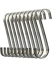 ilauke 10Pcs Ganci a Forma S in acciaio INOX Appesi Ganci Attaccapanni per Bagno, Camera da Letto, Ufficio e Cucina
