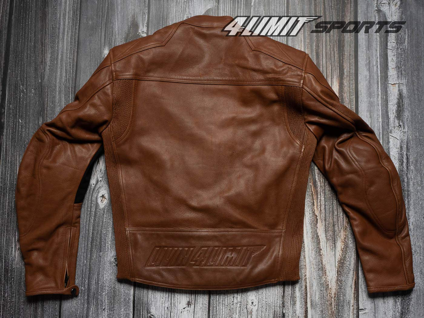 4LIMIT Sports Herren Motorradjacke Leder STREETBANDIT Biker Rocker Motorrad Jacke Lederjacke vintage braun