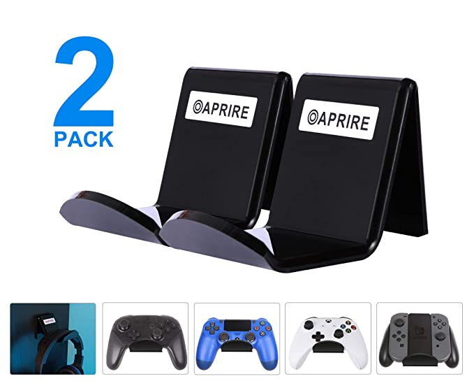 Controller Stand Wall Holder Mount For Xbox One Ps4 Switch Pro Pack Of 2 Oaprire Acrylic Video Game Controller Accessories With Cable Clips Black Amazon In Video Games