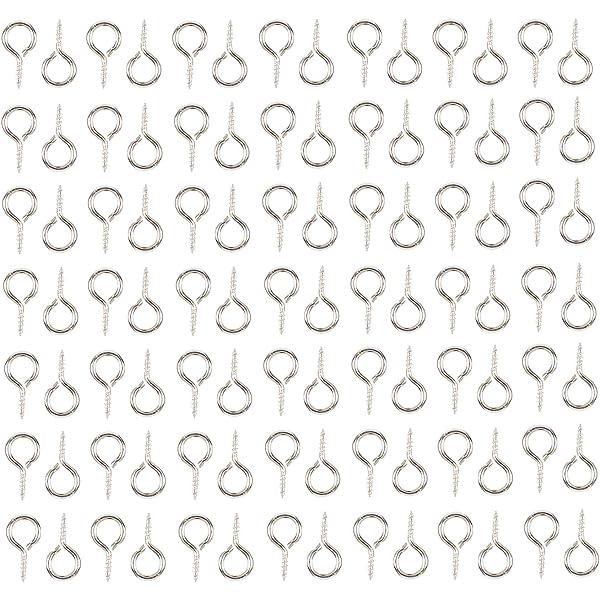 100-TINY MINIATURE GOLD SCREW EYE-Upeye Eyepin Dollhouse Crafts GP//Brass-8 x 4mm