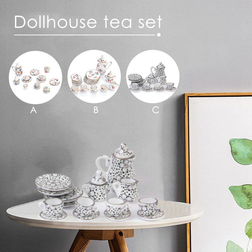 15 PCS Dollhouse Decoration Kitchen Accessories Set 1:12 Mini Porcelain Tea Cup Set Flowers Pattern DZSJ