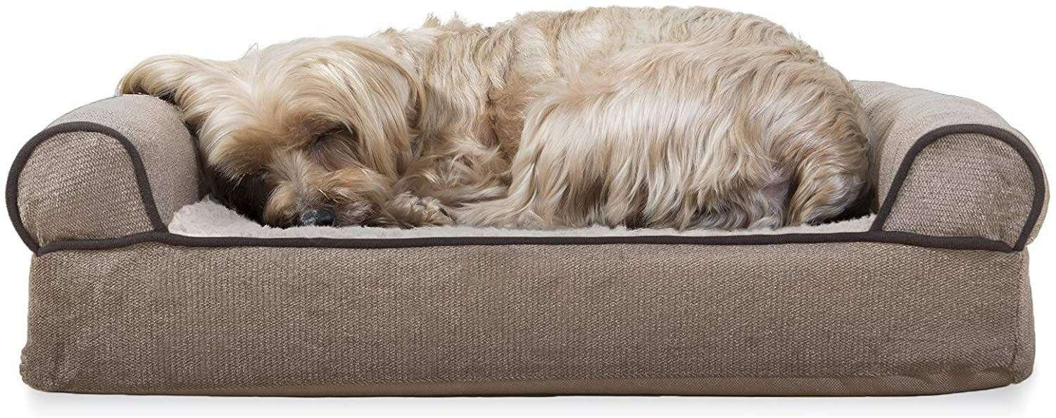 Furhaven Pet Dog Bed - Orthopedic Faux Fleece and Chenille Soft Woven Traditional Sofa-Style Living Room Couch Pet Bed with Removable Cover for Dogs and Cats, Cream, Small : Pet Supplies