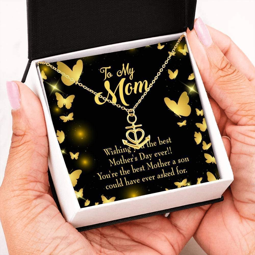 Mothers Day Birthday Jewelry Son Mother Message Anchor Pendant Stainless Steel