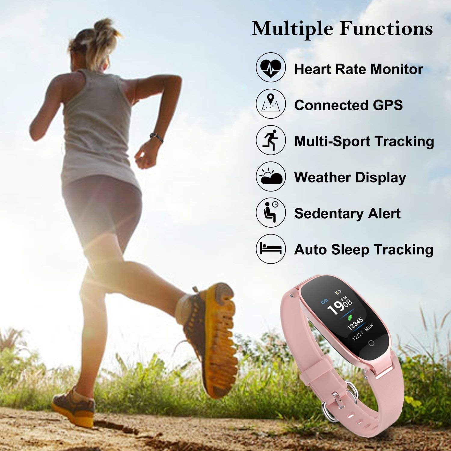 Fitness Tracker for Women HR, Women Smart Bracelet Watch with Heart Rate Monitor, Sleep Monitor Waterproof Smart Watch Pedometer Calorie Counter Support iOS Android S3