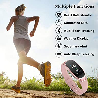 Fitness Tracker for Women HR, Women Smart Fitness Watch with Heart Rate Monitor, Sleep Monitor Waterproof Smart Watch Pedometer Calorie Counter Support iOS Android S3