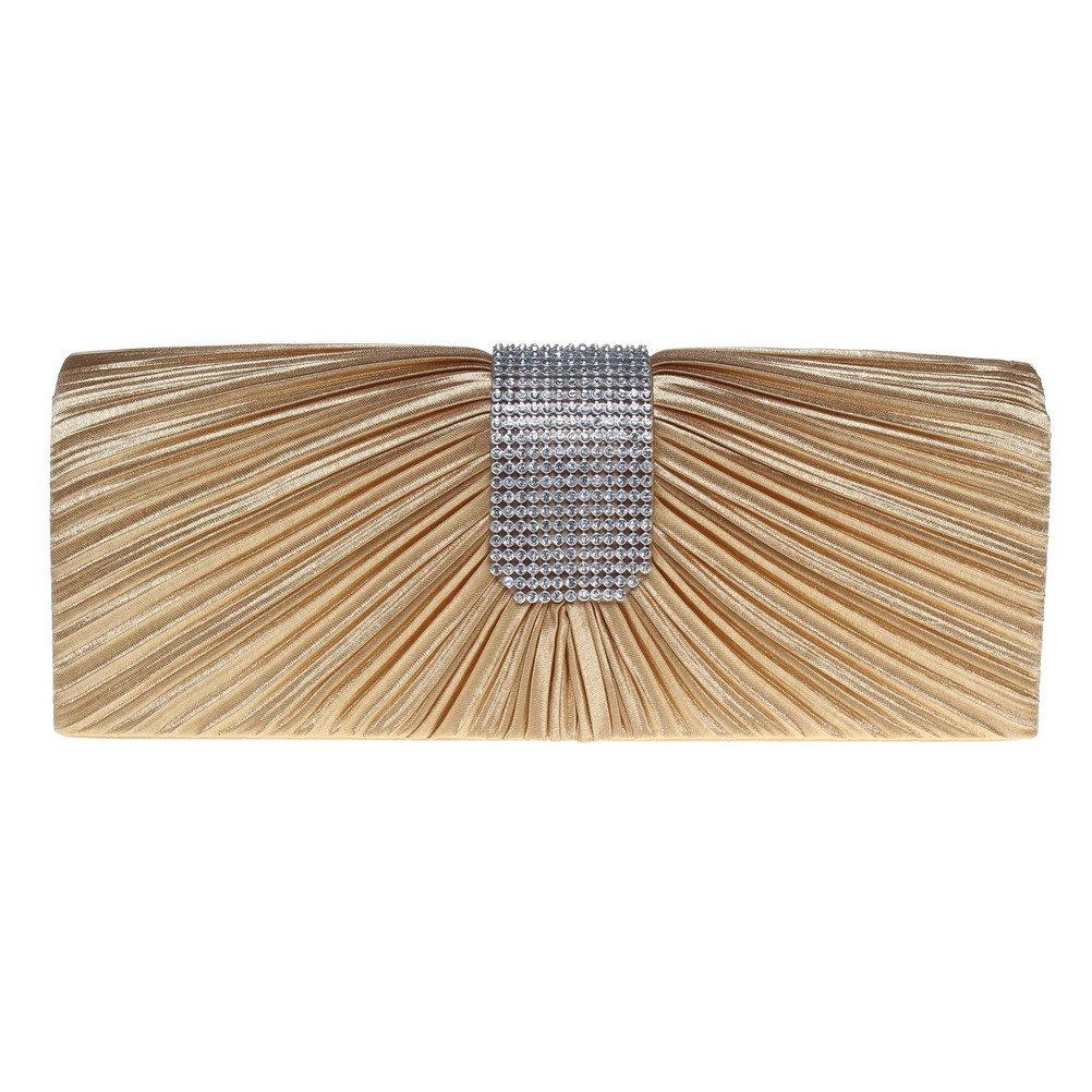 Fashion Road Evening Clutch, Womens Pleated Rhinestone Clutch Purses, Handbag for Wedding & Party Gold