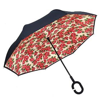 ZI LING SHOP- Doble paraguas invertido sin manos Gran mango largo para hombres Recto paraguas
