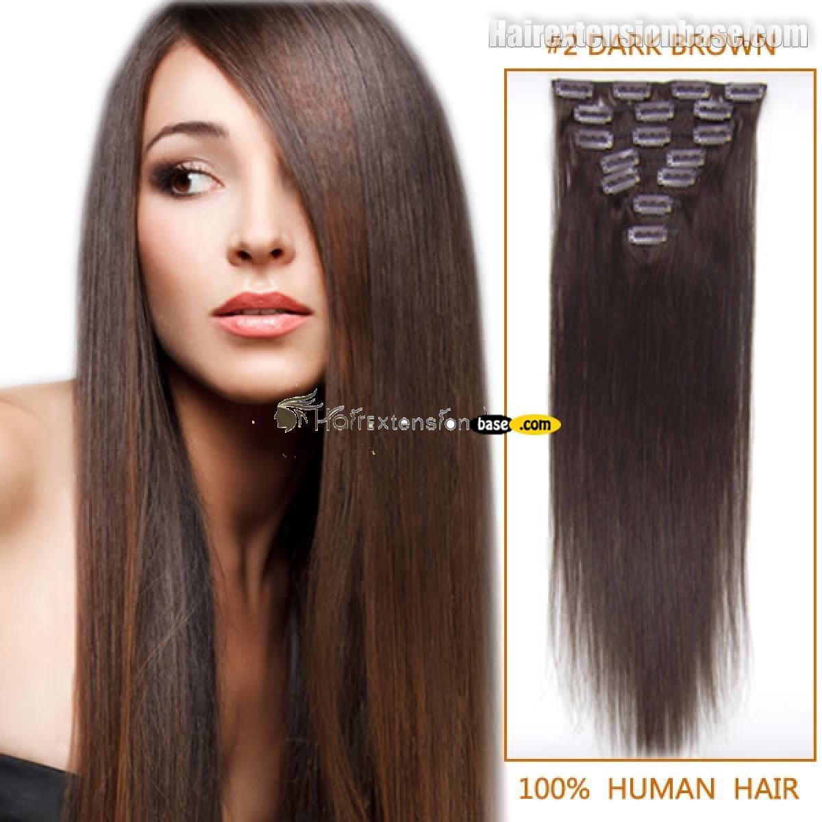 18 Inch Dark Brown Col 2 Full Head Clip In Human Hair Extensions