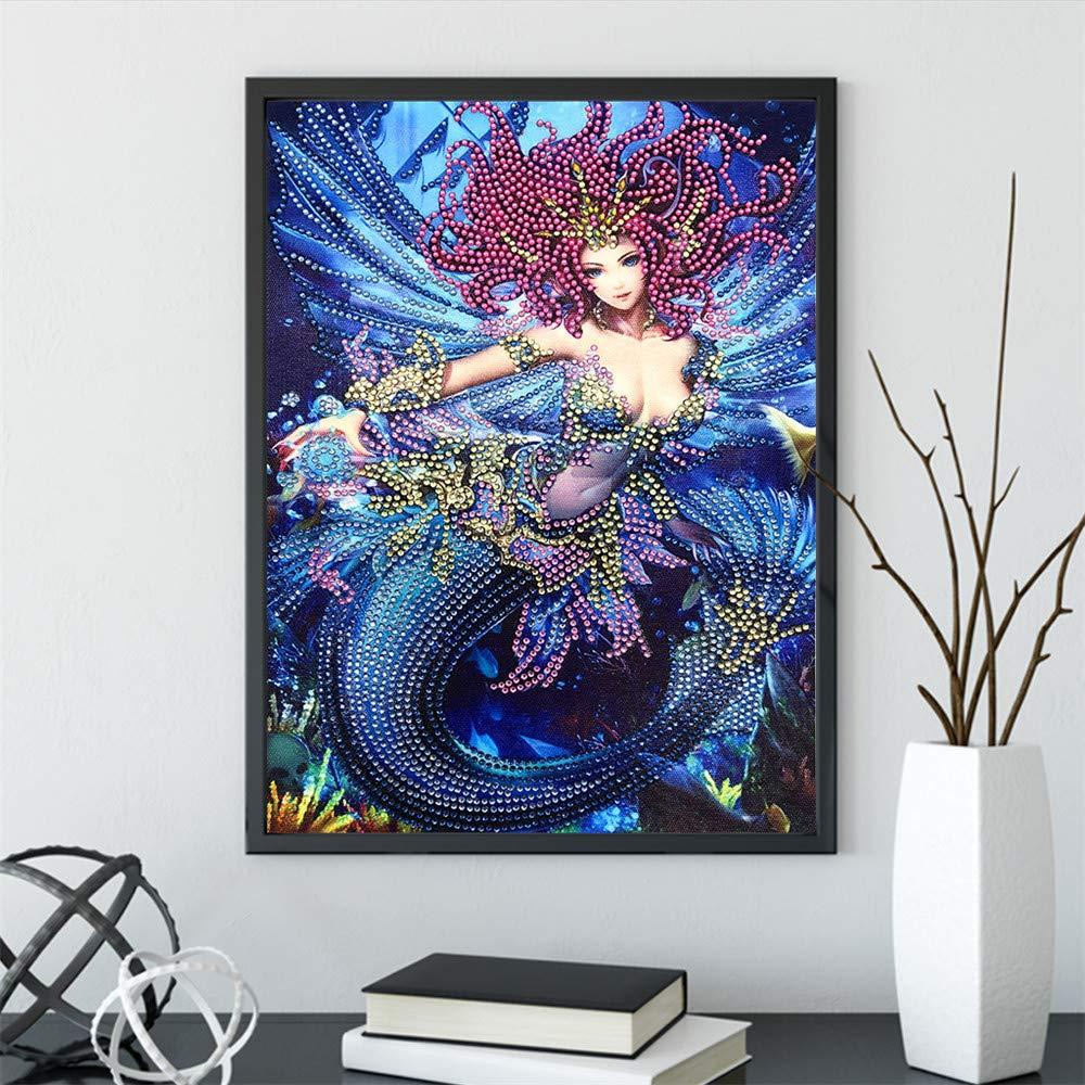 2pcs 5D DIY Diamond Paint Set Special Shape Diamond Elf and Mermaid Picture Crystal Diamond Painting Adult or Child Handmade Hibah