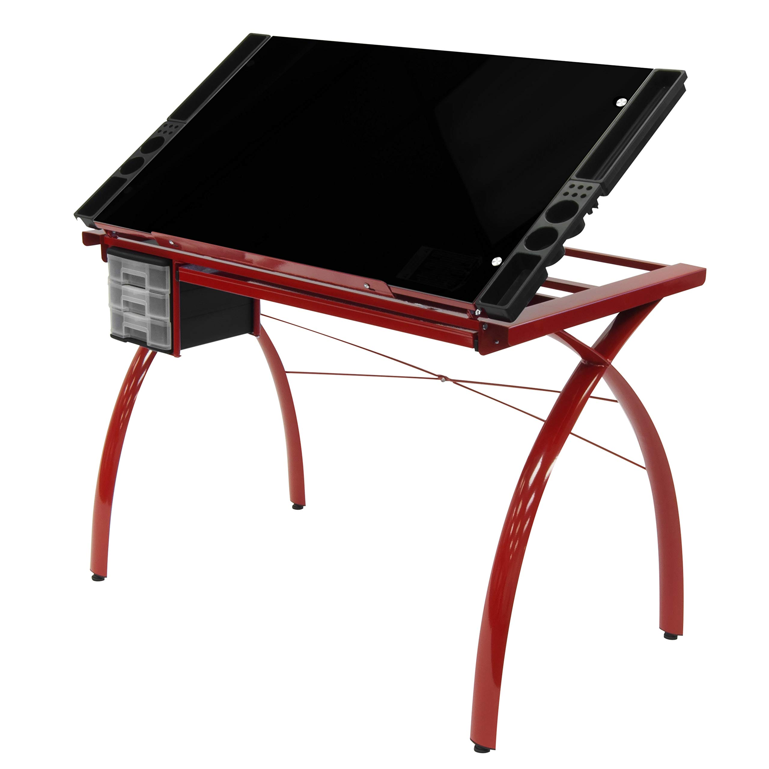 Studio Designs Futura Modern Metal and Glass Hobby, Craft, Drawing, Drafting Table, Desk with 38''W x 24''D Angle Adjustable Top in Red / Black Glass