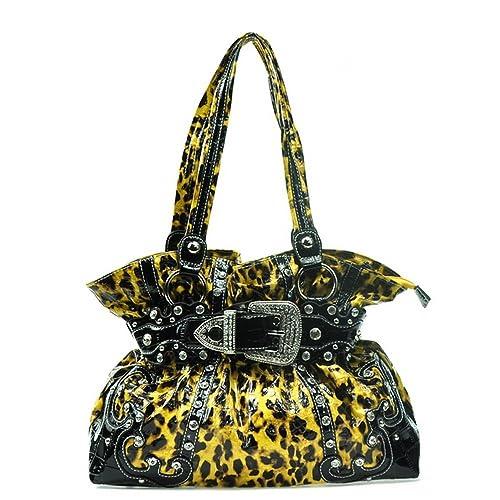 2fee6de509fd Western Rhinestone Buckle Accent Purse Handbag