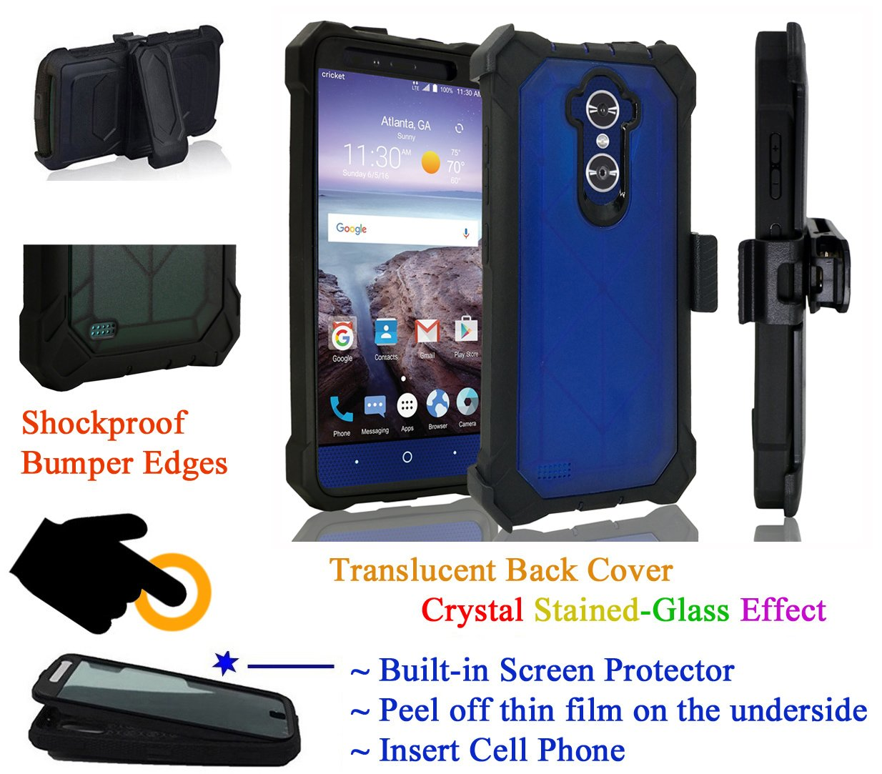 for 6'' ZTE Max XL / Blade X Max case Phone Case 360° Cover Screen Protector Belt Clip Crystal Holster Kick Stand Shock Bumper (Blue)
