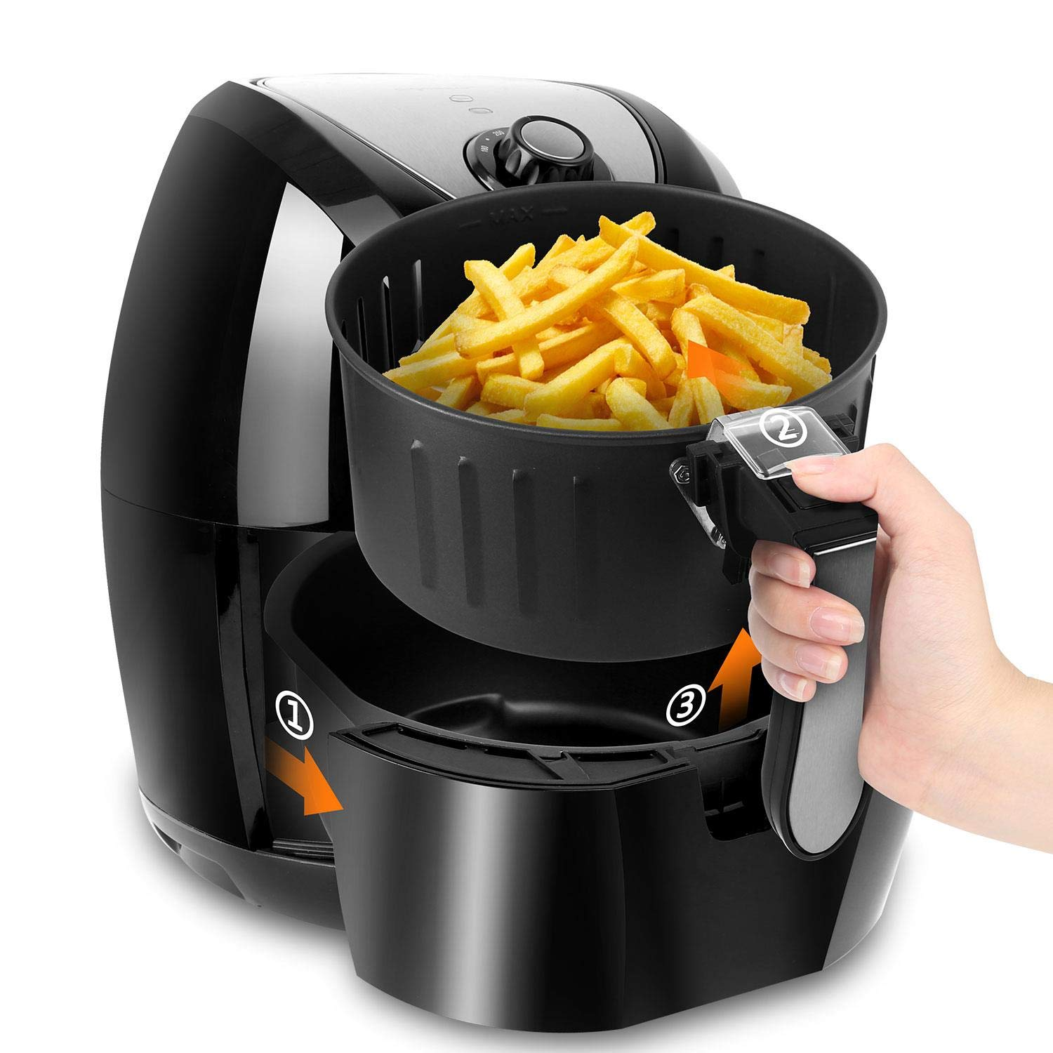 Aigostar Dragon Pro Air Fryer, 3.4Qt Electric Hot Air Fryers Oven Oilless Cooker with Detachable Non-stick Basket & Automatic Timer & Temperature Control for Fast Healthier Fried Food, 1400W by Aigostar (Image #3)