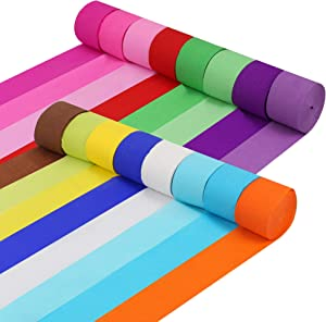 16 Rolls Crepe Paper Streamers in 16 Colors, 489.9Yard Party Streamer Paper Party Rainbow Decorations Crepe Paper for Birthday, Wedding, Concert and Various Festivals