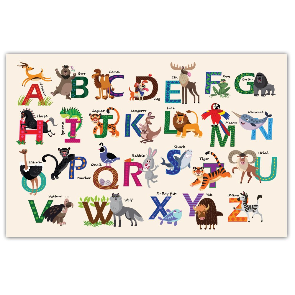 Note Card Cafe Paper Placemats - 48 count - 11'' x 17'' Educational Learning Animal Alphabet