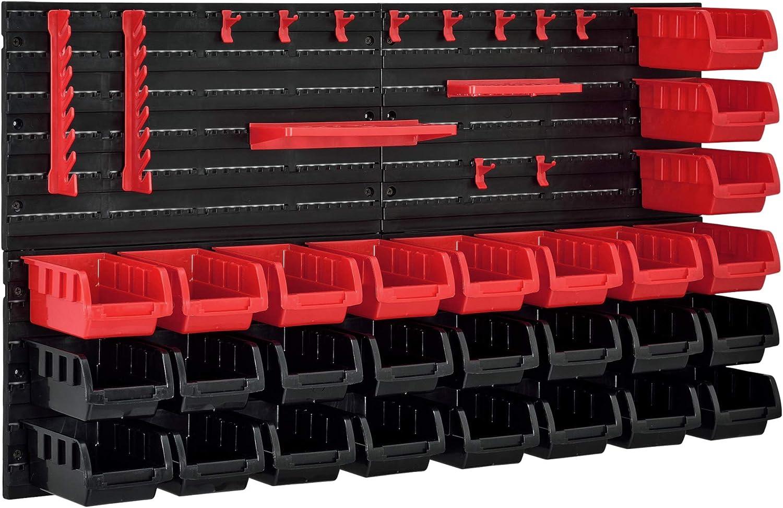 [en.casa]®] Estantería de Bricolaje para Pared 540 x 950 x 175 mm 45 Piezas Cajas apilables Organizador de Herramientas Portaherramientas para Guardar Sistema de cajones Negro y Rojo