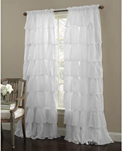 "Awad Home Fashion 1 Piece Gypsy Ruffled Window Curtain Treatment Panel Drapes (55""x84"", White)"
