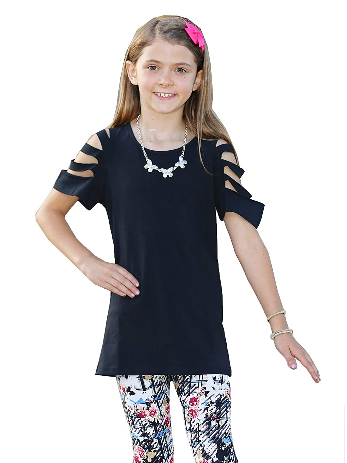 Mayah Kay Girls Black Solid Color Cut-Out Sleeve Soft Trendy Tunic 2T-8