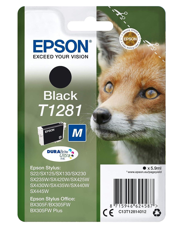 Epson C13T12814012 Cartuccia Inkjet Ink Pigmentato, Blister RS Volpe-M T1281, Nero, Imballaggio Standard StylusOfficeBX305F StylusOfficeBX305FW StylusOfficeBX305FWPlus StylusS22 StylusSX125 StylusSX130 StylusSX420W StylusSX425W StylusSX440W cartucce colore