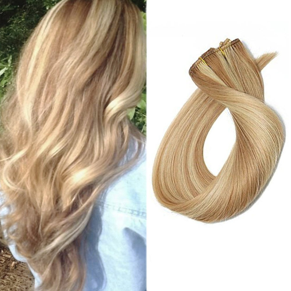 Amazon 18 Inch Remy Hair Clip In Extensions Light Golden Brown