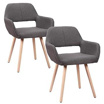 HENGMEI Juego de 2 sillas, sillas Scandinaves, silla de sala de espera, sillas comedor, 41 x 40 x 80 cm, silla de loisirs, asiento C para Visitor, ...
