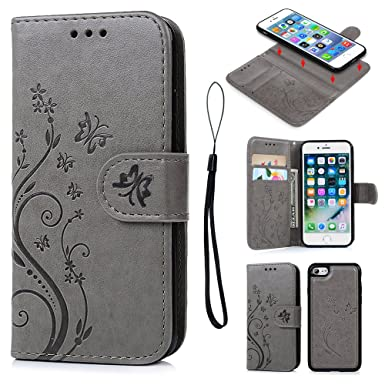 best sneakers 18837 0fa35 iPhone 7 Case, Pincenti iPhone 7 Wallet Case PU Embossed Butterfly Flower  Leather Detachable Wallet with Card Holder and ID Slot Cover for iPhone 7  ...