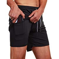 "FLYFIREFLY Men's 2-in-1 Workout Running Shorts 7"" Lightweight Gym Yoga Training Sport Short Pants"
