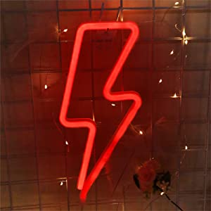 Neon Light,Lightning Bolt Neon Sign for Grunge Room Decor,Red Neon Sign for Home Décor, Led Bolt Signs for Red Room Decor,Men Bedroom Decor,Christmas,Birthday Party