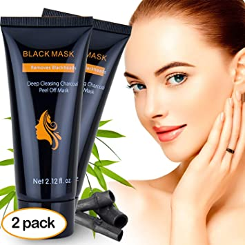 Amazon Com 2 Pack Upgraded Blackhead Remover Mask Deep Cleansing Charcoal Peel Off Black Mask For Face And Nose Acne Black Mask For Body Acne Best Blackhead Remover Mask For 2018 Beauty