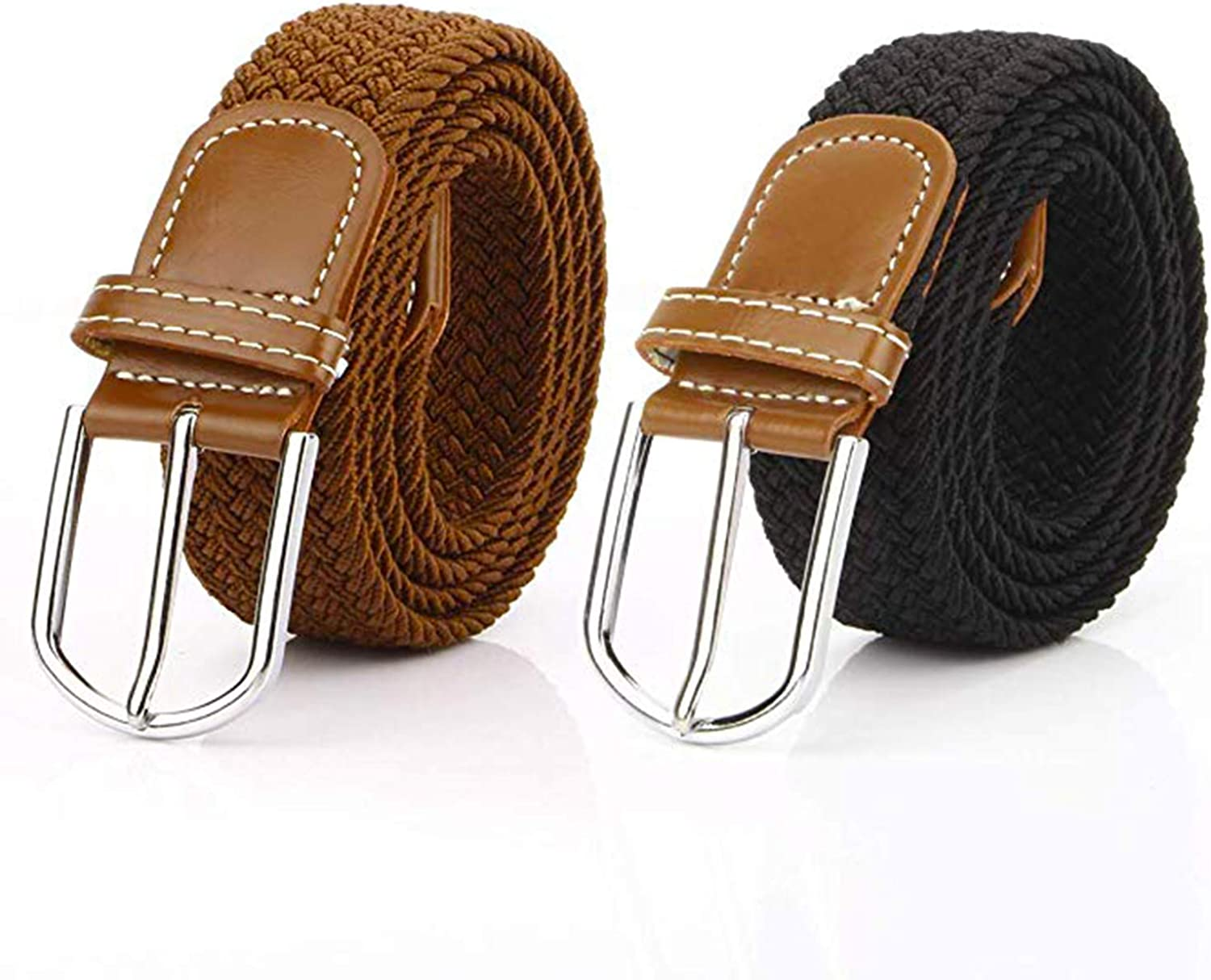 TianSe Women Elastic Fabric Woven Stretch Braided Casual Canvas Belt for Jeans Pants 2 PACK
