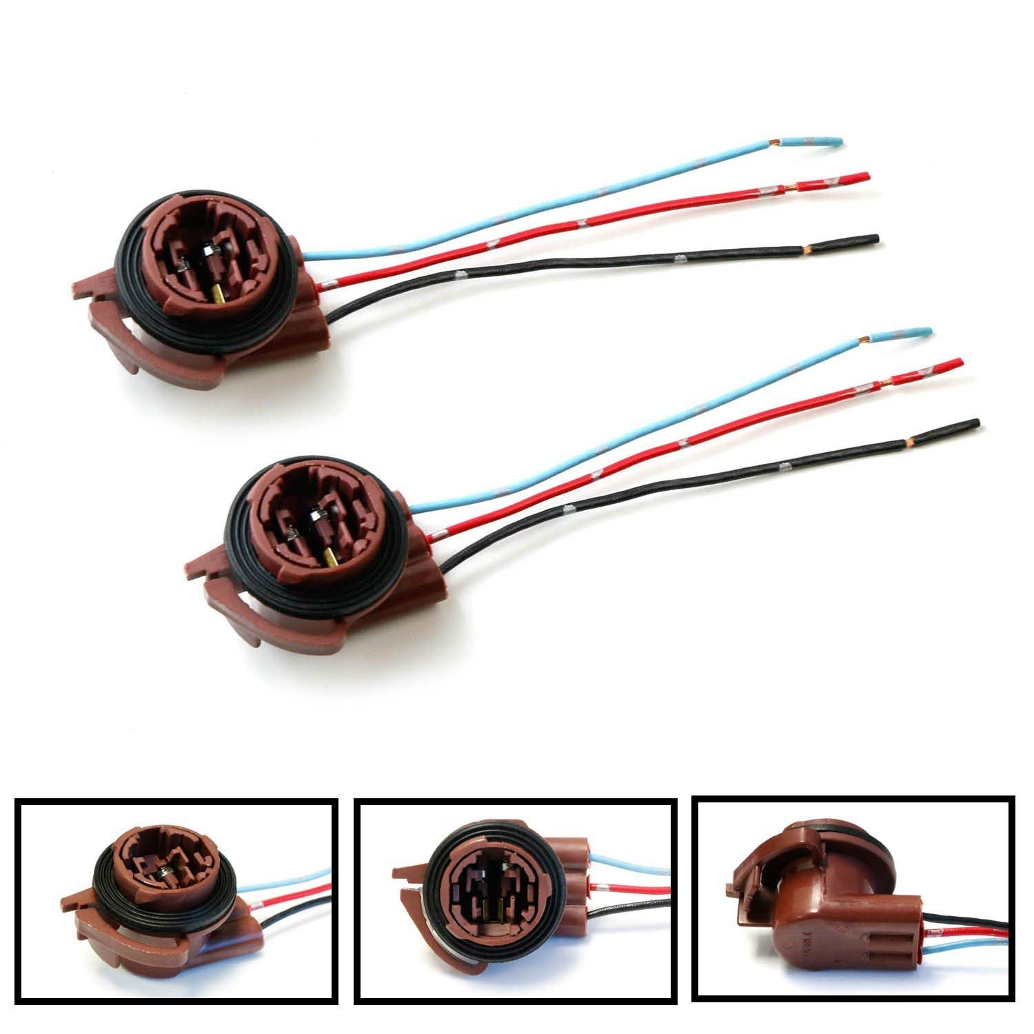 Ijdmtoy 2 3156 3157 Pre Wired Harness Sockets For Taillight Wiring Chevy Avalanche Repair Replacement Install Led Bulbs Turn Signal Lights Drl Lamps Or Brake Tail