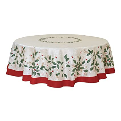 Lenox Golden Holly 70 Inch Round Tablecloth