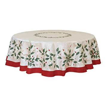 70 Inch Round Table Cloth.Lenox Golden Holly 70 Inch Round Tablecloth