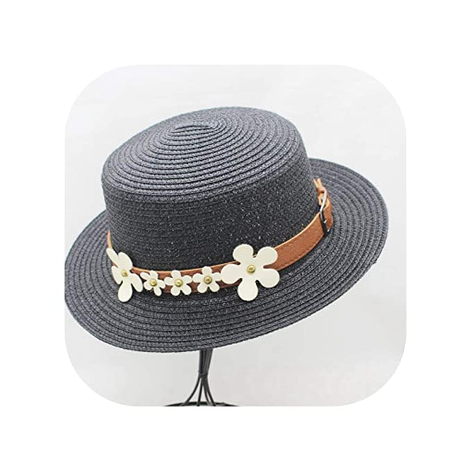 9efc183a Image Unavailable. Image not available for. Color: New Lady Boater Sun caps  Ribbon Round Flat Top Straw Beach hat Panama Hat Summer Hats