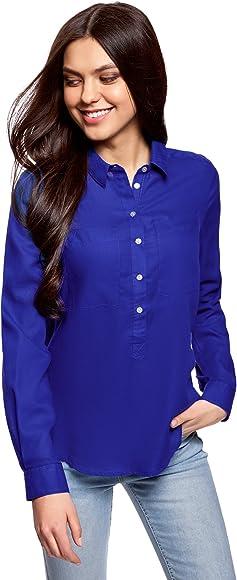 oodji Ultra Mujer Camisa Ancha de Algodón, Azul, ES 34 / XXS: Amazon.es: Ropa y accesorios