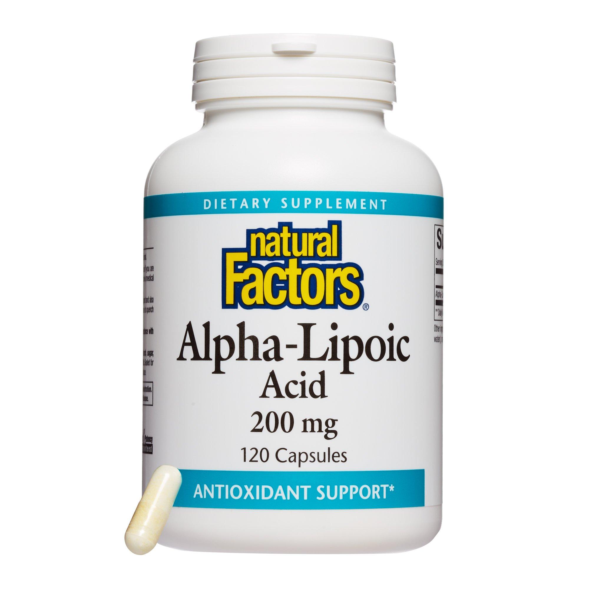 Natural Factors - Alpha-Lipoic Acid 200mg, Broad Spectrum Antioxidant Support to Restore Natural Defense Against Free Radical Damage, 120 Capsules