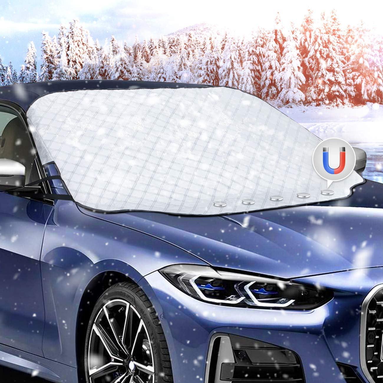 Favoto Auto Sonnenschutz Frontscheibe Windschutzscheiben Abdeckung Magnetische Faltbare Autoscheibenabdeckung Eisschutz Frontscheibenabdeckung Uv Schutz Für Sommer Staub Schnee 147x116cm Auto