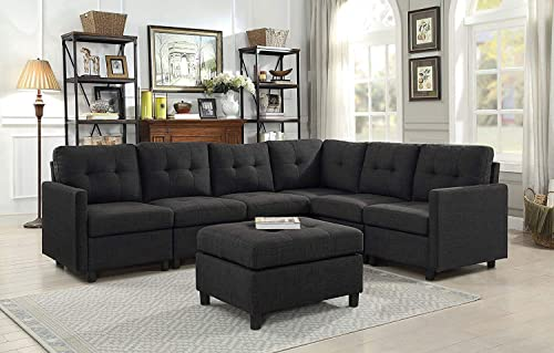 DAZONE Modular Sectional Sofa Assemble 7-Piece Modular Sectional Sofas Bundle Set Cushions, Easy to Assemble Left Right Arm Chair,Armless Chair, Corner Chair,Ottomans Table Charcoal