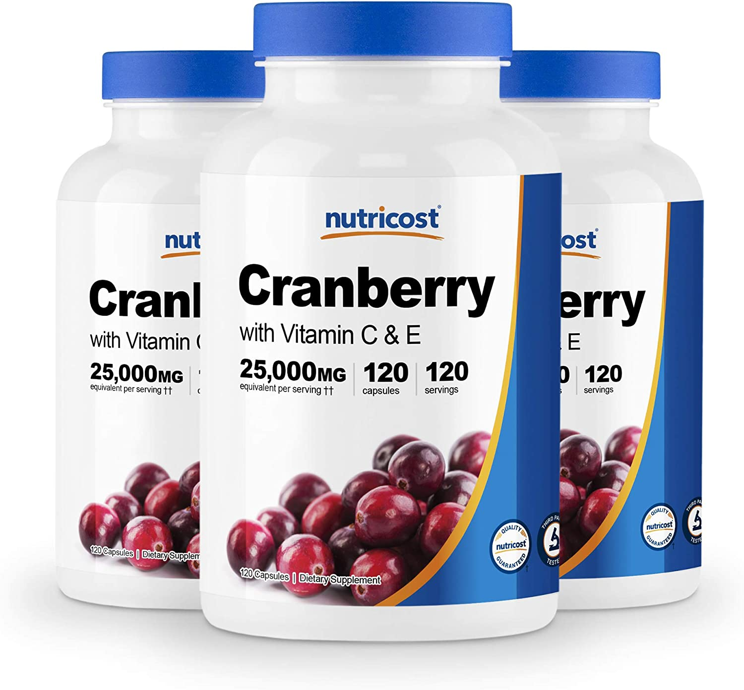 Nutricost Cranberry Extract 25,000mg (120 Servings) 3 Bottles with Vitamin C & E