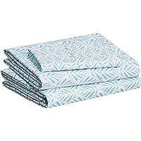 "Amazon Basics Lightweight Super Soft Easy Care Microfiber Bed Sheet Set with 14"" Deep Pockets - Twin, Aqua Fern"