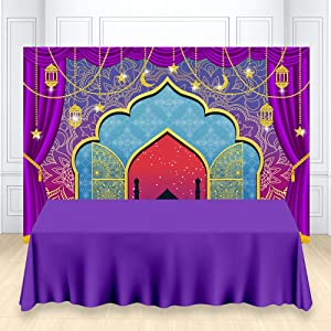 HUAYI Nights Magic Genie Theme Backdrop Arabian Moroccan Birthday Party Decor Banner Gold Glitter Indian Bollywood Princess Baby Shower Photography Background Photobooth Studio Props 7x5ft W-3338