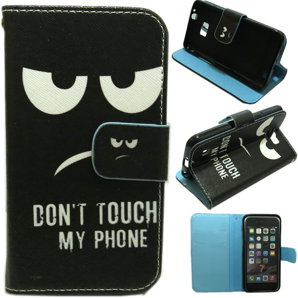 1x Anger Don't Touch My Phone Wallet Kickstand Flip case cover for Samsung LG iPhone HTC Alcatel ZTE Huawei Phone (Galaxy J2 Prime)