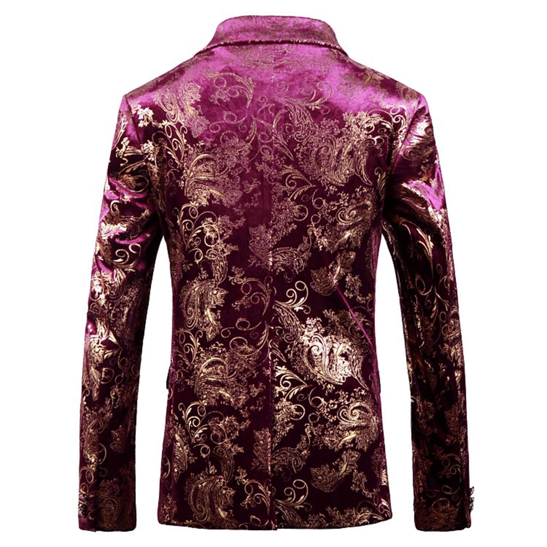 waistcoat Mens Large Size Jacquard Purple Gold Pattern Casual Slim Suit Jacket
