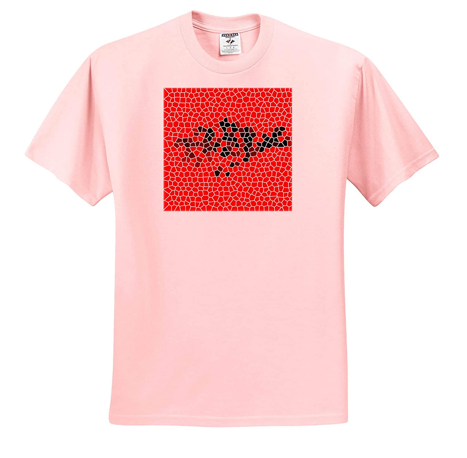 3dRose Kike Calvo Anthropology and Ethnomusicology T-Shirts Red and Black Abstract Mosaic of a Flat Fish