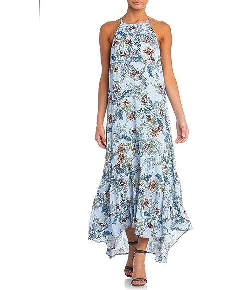 541cd1bdf2 Amazon.com: Miss Me MMD0025T Light Blue Floral Print Halter Maxi ...