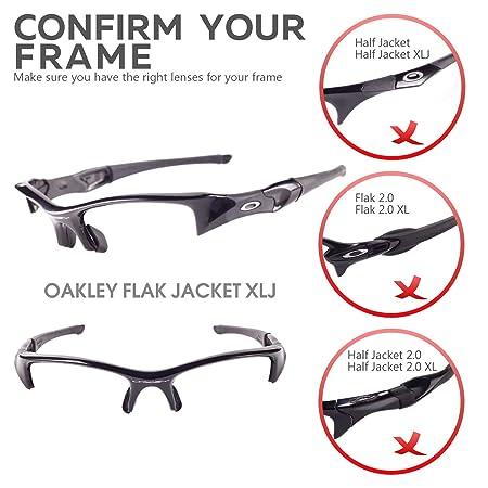 0f704e8397 Amazon.com   Walleva Replacement Lenses Or Lenses Rubber Kit for Oakley  Flak Jacket XLJ Sunglasses - 26 Options (24K Gold Polarized Lenses + Black  Rubber) ...