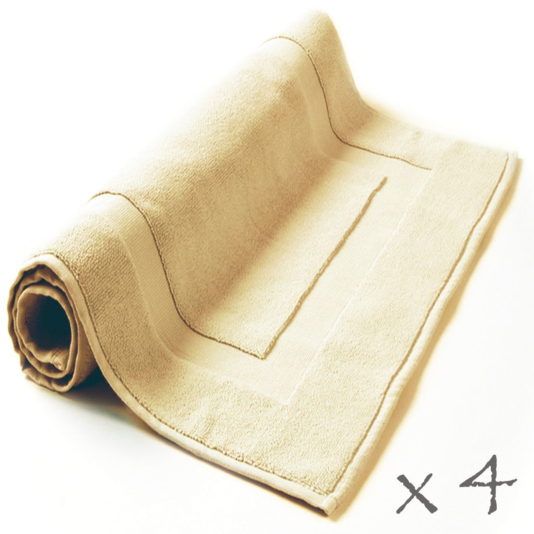 Hotel Collection - 4 piece Bath Rug Set, Sumptuous Terry, Color: Natural Beige, 100% Eco-Friendly Turkish Cotton